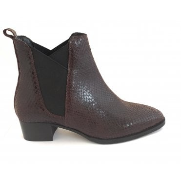Bordo Loburn Snake Print Leather Ankle Boots