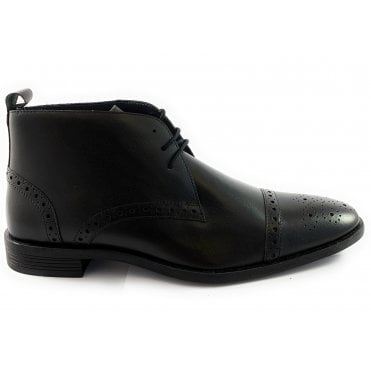 Bradley Black Leather Lace-Up Boot