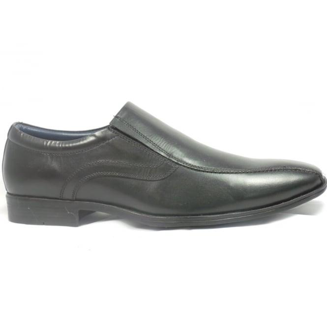 Lotus Brandon Mens Black Leather Slip-On Shoe
