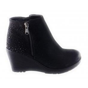 Brisa Black Diamanté Wedge Ankle Boot