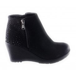 Brisa Black Diamanté Wedge Ankle Boot