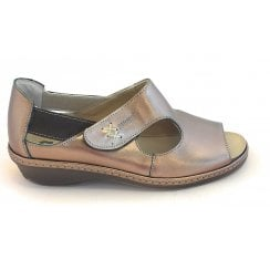 Bronze Leather Closed Heel Sandal