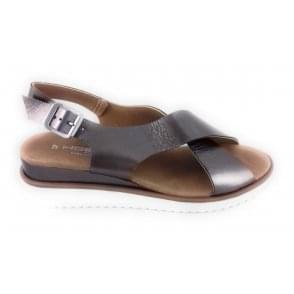 H Hosis Bronze Leather Cross Band Flat Sandal