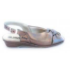 Bronze Leather Wide Fit Sling-Back Sandal