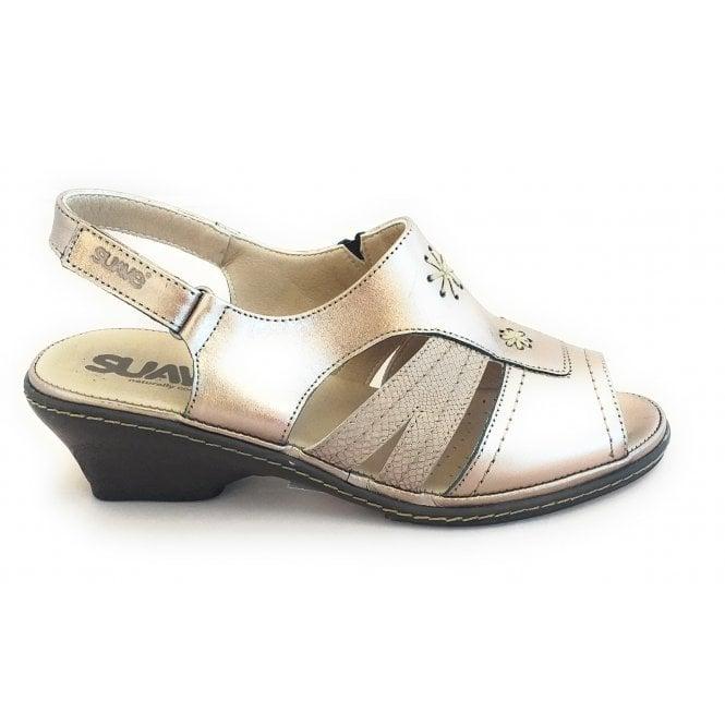 Suave Bronze Mertallic Leather Open-Toe Sandal