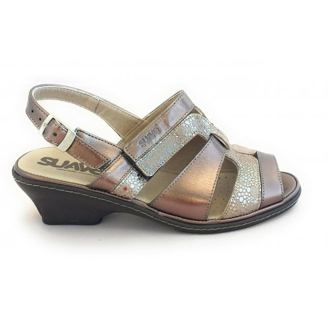 Suave Bronze Metallic Leather Wide Fit Sandal