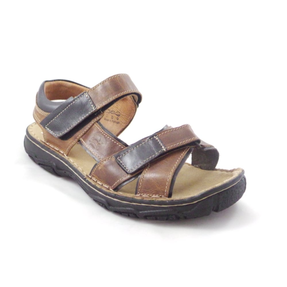 Softwalk Brown and Black Leather Mens Casual Sandal ...