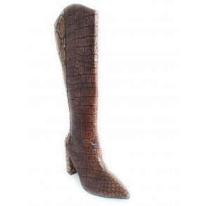 Brown Grande Croc and Snake Print Knee High Boots