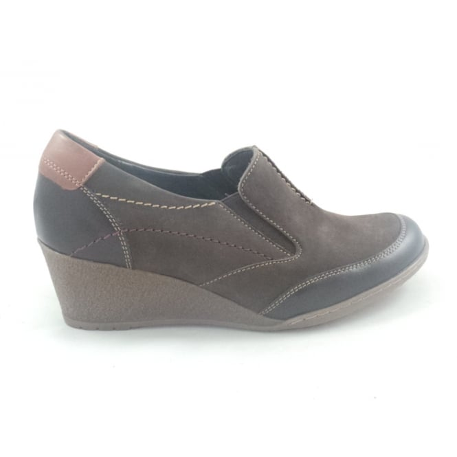 Kiarflex Brown Leather and Nubuck Casual Slip-On Wedge Shoe