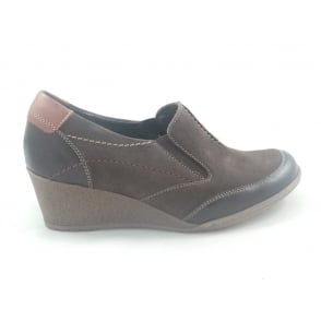 Brown Leather and Nubuck Casual Slip-On Wedge Shoe
