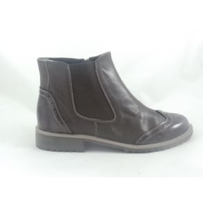 Brown Leather and Patent  Ankle Boot
