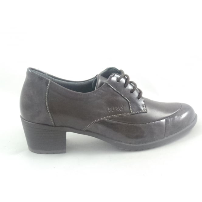 Suave Brown Leather and Patent Lace-Up Casual Shoe