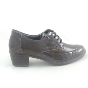 Brown Leather and Patent Lace-Up Casual Shoe