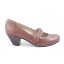 Brown Leather Court Shoe with Strap