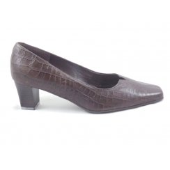 Brown Leather Croc Print court Shoe