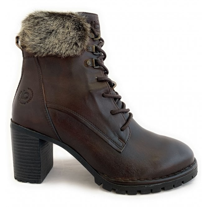 Brown Leather Heeled Lace-Up Ankle Boots