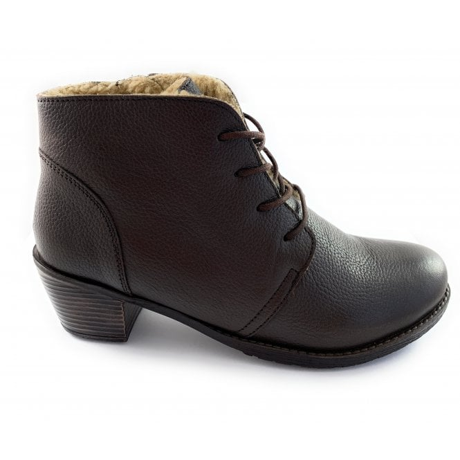 Lotus Brown Leather Lace-Up Ankle Boot