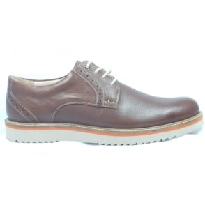 Brown Leather Lace-Up Casual Shoe Size 8