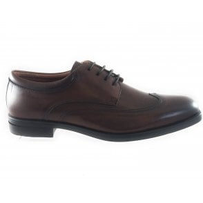 Brown Leather Lace-Up Shoe