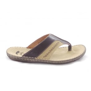 Brown Leather Mens Toe-Post Sandal