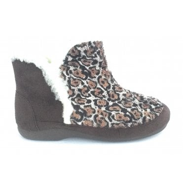 Brown Leopard Print Boot Slipper