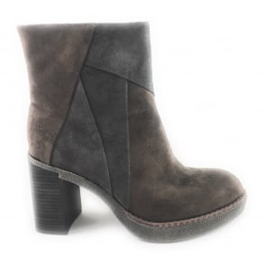 Brown Multi Faux Suede Ankle Boot