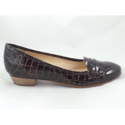 Brown Patent Croc Print Loafer Shoe