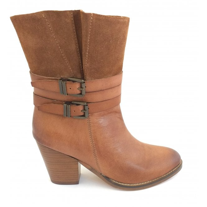 Ravel Brown Shores Leather Heeled Ankle Boots