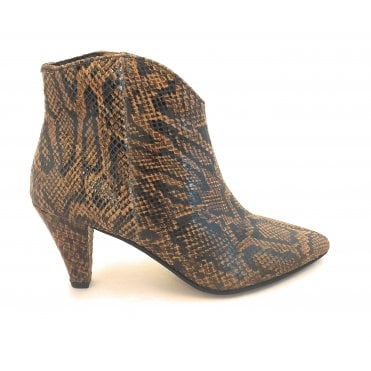 Brown Snake-Print Levisa Leather Ankle Boots