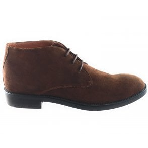 Brown Suede Lace-Up Boot