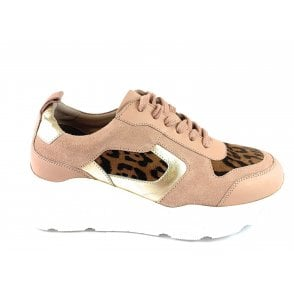 Budapest Pink Suede and Leopard Print Casual Shoe