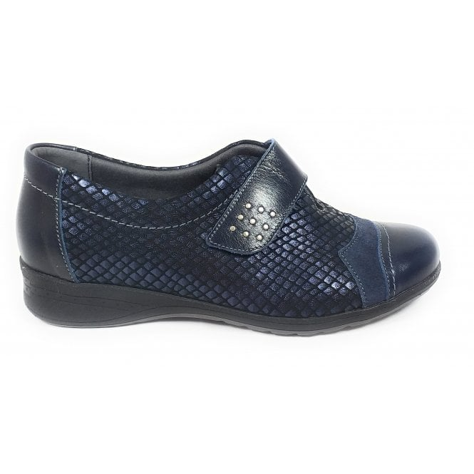 Suave Bunty Navy Leather Casual Shoes