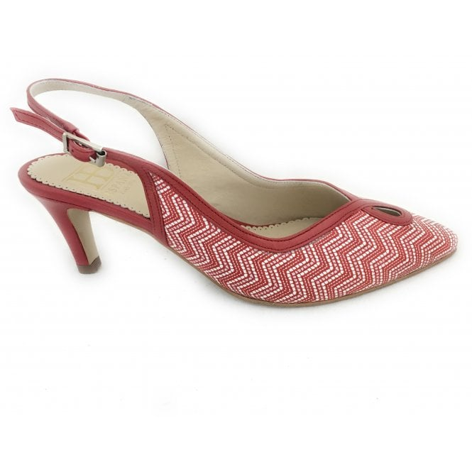 HB Bunty Red and White Print Court Shoe