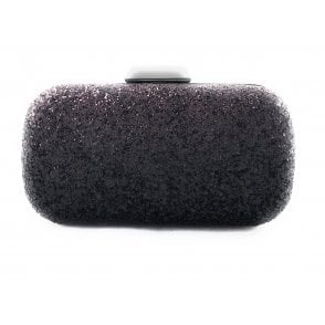 Burgundy and Black Glitter Clutch Bag