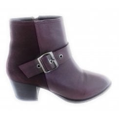 Burgundy Leather Ankle Boot