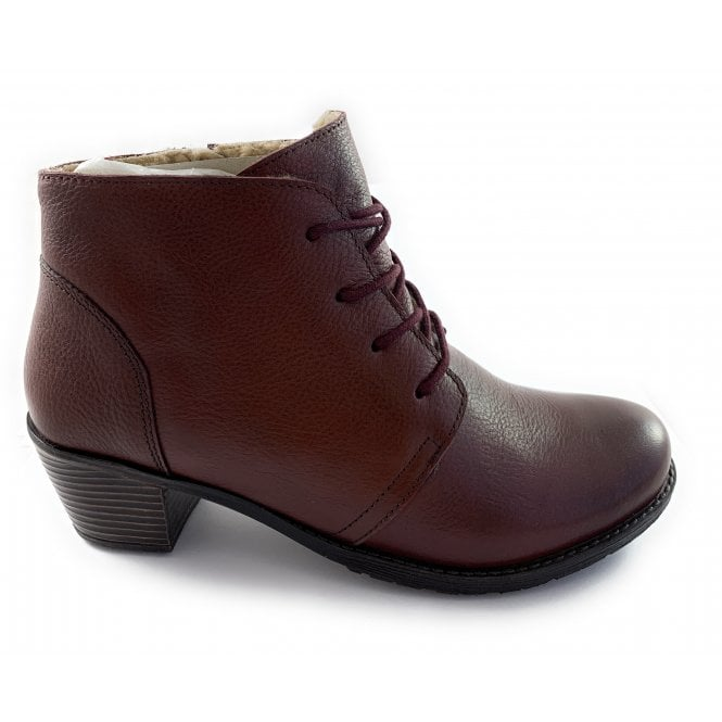 Lotus Burgundy Leather Lace-Up Ankle Boot