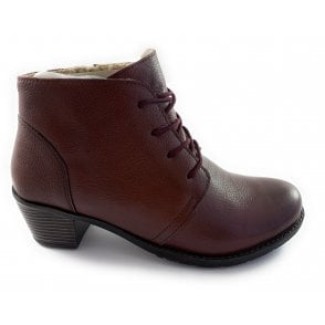 Burgundy Leather Lace-Up Ankle Boot