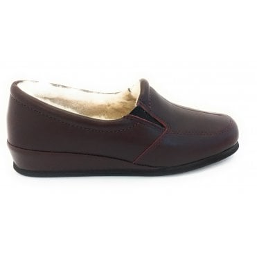 Burgundy Leather Slippers