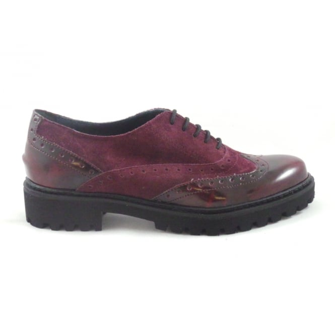 C263 Burgundy Suede and Leather Lace-Up Brogue