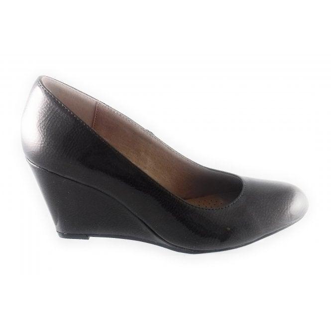 Lotus Cache Bronze Crinkle Patent Wedge Shoe