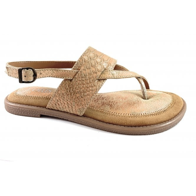 Lotus Calie Gold Leather Toe-Post Sandal