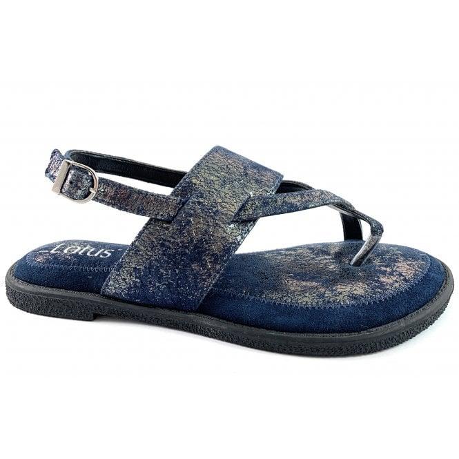 Lotus Calie Navy Leather Toe-Post Sandal