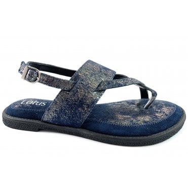 Calie Navy Leather Toe-Post Sandal