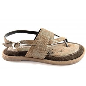 Calie Pewter Leather Toe-Post Sandal