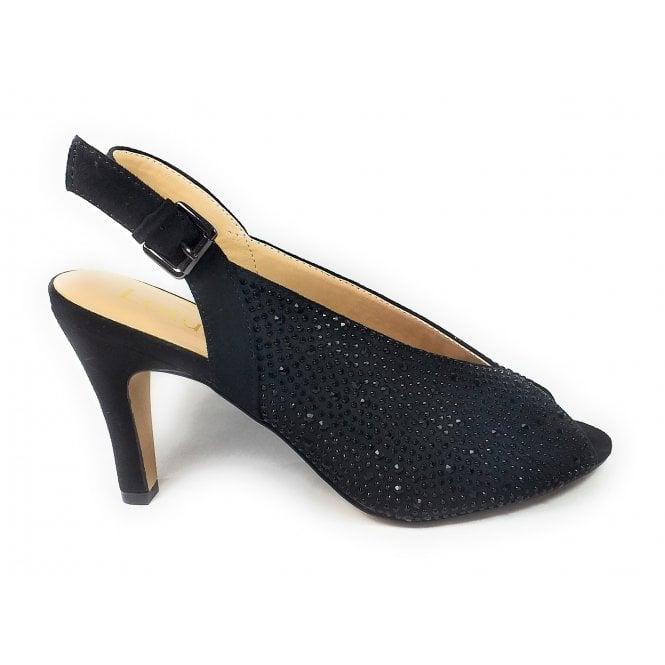 Lotus Calista Black and Diamante Peep-Toe Shoes