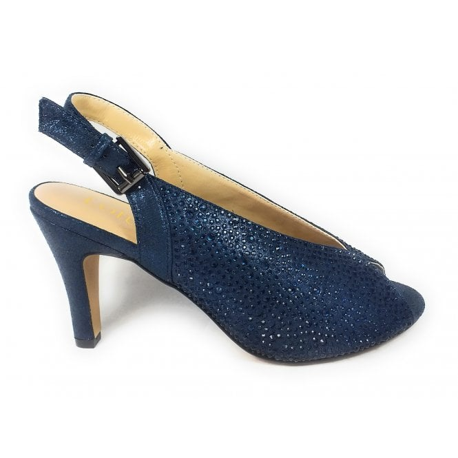 Lotus Calista Navy and Diamante Peep-Toe Shoes