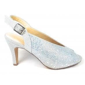 Calista Silver and Diamante Peep-Toe Shoes