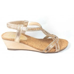 Camilla Gold Wedge Sandals