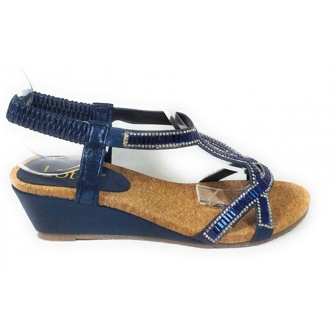 Lotus Camilla Navy Wedge Sandals