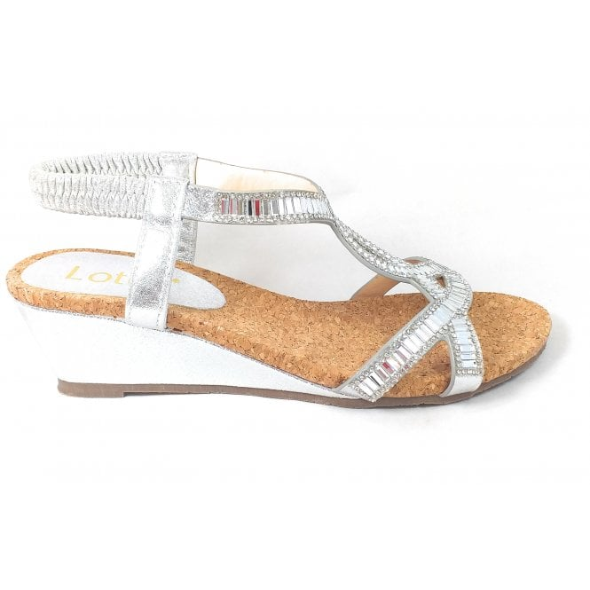 Lotus Camilla Silver Wedge Sandals